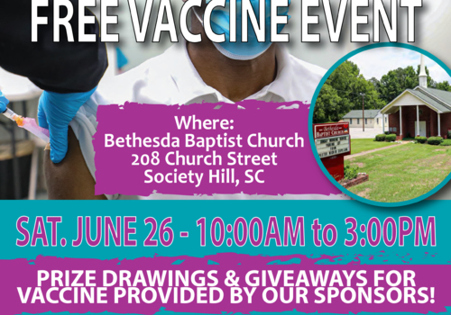 CareSouth Carolina partnering to provide two COVID-19 vaccine opportunities on Saturday, June 26