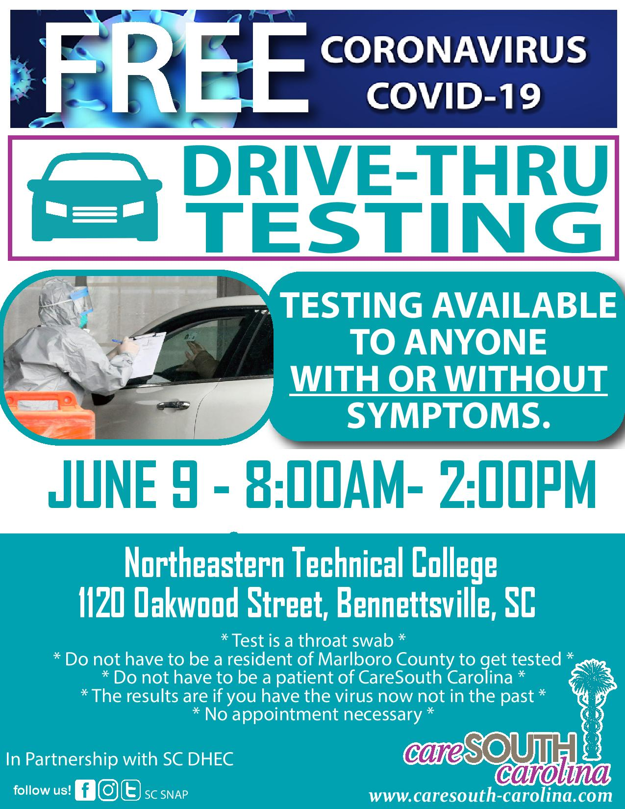 Free COVID-19 testing in Bennettsville